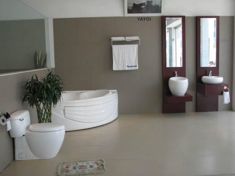 Một không gian phòng tắm được thiết kế với thiết bị vệ sinh Caesar